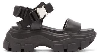 Prada Buckled Leather Platform Sandals - Womens - Black