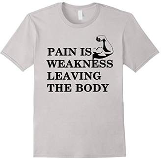 Flex Bodybuilder T-Shirts Pain is Weakness Leaving Funny Tee