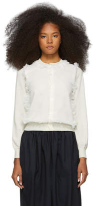 Comme des Garcons Off-White Wool Georgette Cardigan