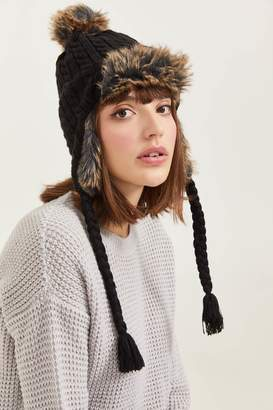 Ardene Faux Fur Trim Beanie with Ear Flaps