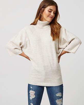 Le Château Rib Knit Cowl Neck Poncho Sweater