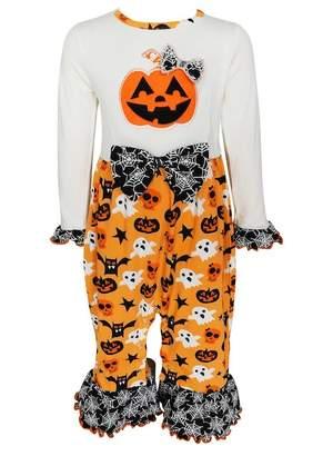 AnnLoren Jack-O'-Lantern Pumpkin Halloween Knit Cotton Romper (Baby Girls)