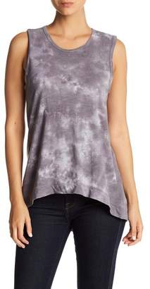 C&C California Sleeveless Hi-Lo Tie-Dye Tank Top