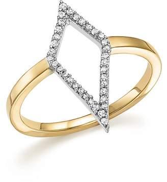 Adina Sterling Silver and 14K Yellow Gold Pavé Diamond Cutout Ring