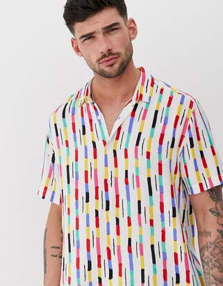 Asos Design DESIGN relaxed stripe painted shirt