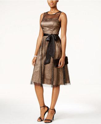 Jessica Howard Glitter Illusion Sash Fit & Flare Dress $129 thestylecure.com