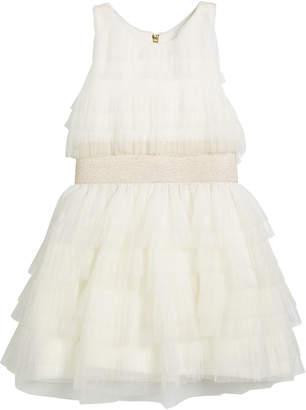 Zoe Layered Ruffle Tulle Dress w/ Metallic Elastic Waist, Size 7-16