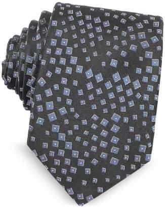 Lanvin Geometric Pattern Woven Silk Tie