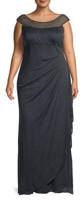 Xscape Evenings Plus Faux Pearl-Embellished Gown