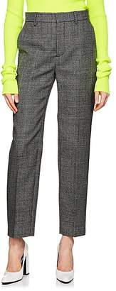 Balenciaga Women's Houndstooth-Weave Wool Carrot-Leg Trousers