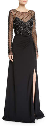 Badgley Mischka Illusion Long-Sleeve Crystal-Trim Gown
