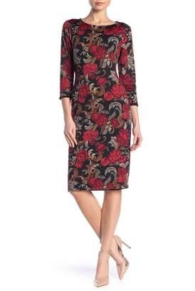 TASH + SOPHIE 3\u002F4 Length Sleeve Floral Print Dress