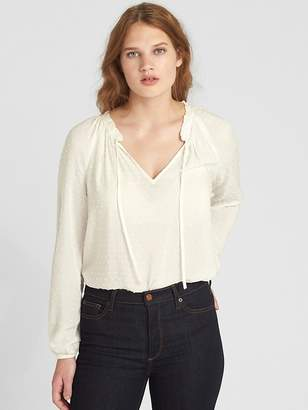 Gap Ruffle V-Neck Blouse in Swiss Dot