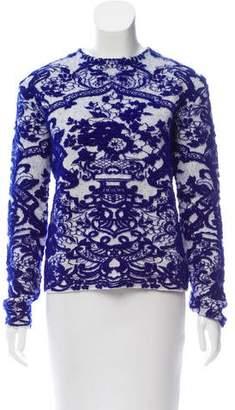 Valentino Jacquard Long Sleeve Sweater