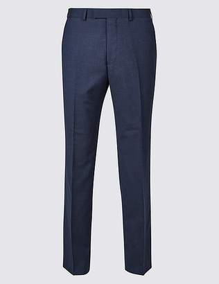 Marks and Spencer Big & Tall Indigo Textured Regular Fit Wool Trousers