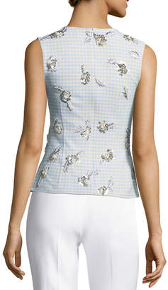 Brock Collection Tara Sleeveless Gingham Suiting Top w/ Embellishments