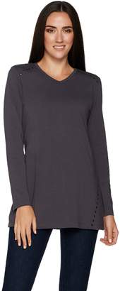 Denim & Co. Long Sleeve V-Neck Tunic Top w/ Stud Detail