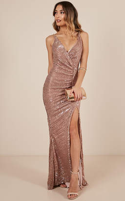 Showpo Special Moments dress in rose gold sequin