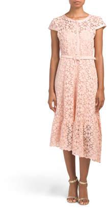 Asymmetrical Cap Sleeve Lace Dress
