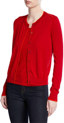 Neiman Marcus Superfine Button-Front Shrunken Cashmere-Blend Cardigan w/ Contrast Trim