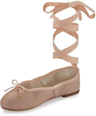Ballet Beautiful Street Ballet Leather Ankle-Wrap Flats