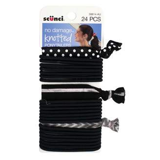 Scunci No Damage Knotted Ponytailers 24 pack