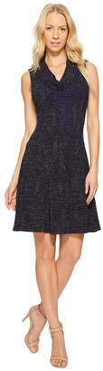 Taylor Metallic Knit Cowl Neck Fit-and-Flare Women's Dress
