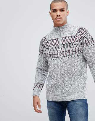 Bellfield Cable Sweater With Half Zip In Fairisle