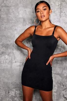 boohoo Square Neck Cross Strappy Bodycon Dress