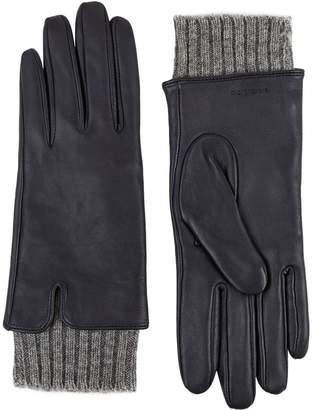 Sandro Knit Cuffs Leather Gloves