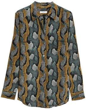 Equipment Snake-Print Silk Crepe De Chine Shirt