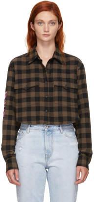 Marcelo Burlon County of Milan Brown Checkered Skull Shirt