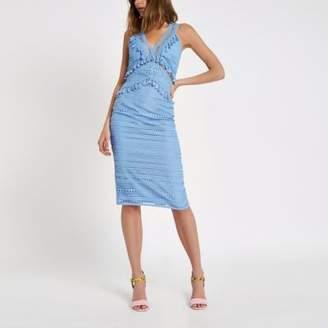 River Island Womens Blue lace tassel midi dress