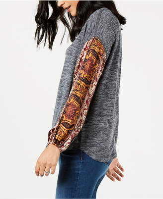 Style&Co. Style & Co Contrast-Sleeve Sweatshirt, Created for Macy's