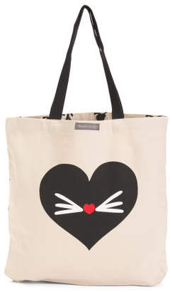 Heart Cat Canvas Tote