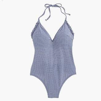 J.Crew Ruffle halter one-piece swimsuit in tiny gingham