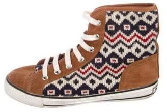 Tory Burch Woven High-Top Sneakers