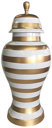 "Dana Gibson 13"" Striped Ginger Jar - Gold/White"