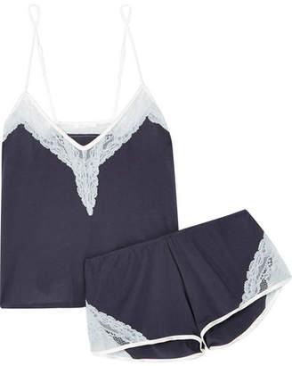 Skin - Gia And Genevieve Lace-trimmed Organic Pima Cotton-jersey Pajama Set - Midnight blue