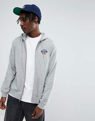 Brixton Garth Zip Through Hoodie With Logo