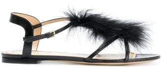 Charlotte Olympia flat feather embellished sandals