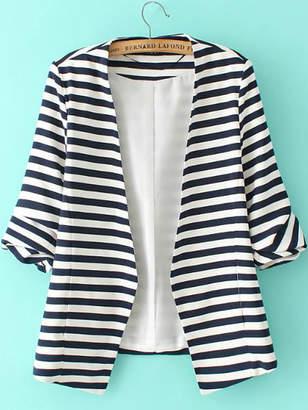 Shein Striped Rolled Sleeve Open Front Blazer