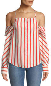 Can't Be Tamed Off-The-Shoulder Striped Blouse