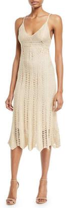 Ralph Lauren Sleeveless V-Neck Crochet Camisole Midi Dress