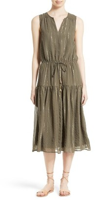 Women's Joie Klea Metallic Stripe Silk Midi Dress $428 thestylecure.com