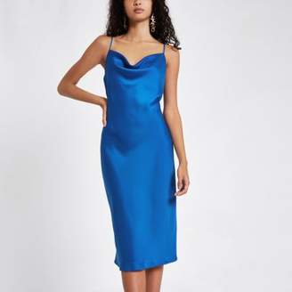 River Island Womens Blue satin cowl neck slip dress