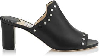 Jimmy Choo MYLA 65 Black Nappa Leather Mules with Silver Studs