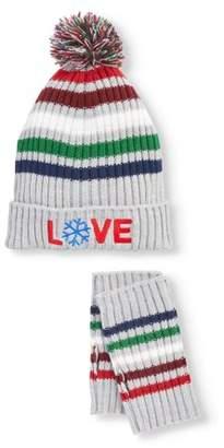EV1 from Ellen DeGeneres Women's Striped Knit Cuffed Hat With Pom and Hand Warmer Set (gray)