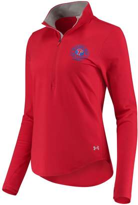 Under Armour Unbranded Women's Red Philadelphia Phillies Charged Cotton Half-Zip Pullover Jacket