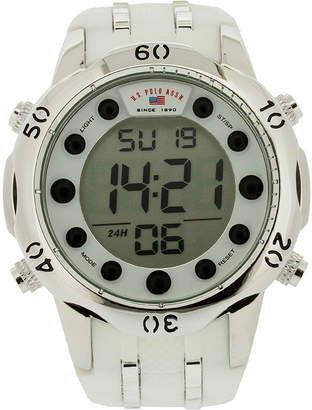 U.S. Polo Assn. USPA Mens White Silicone Strap Digital Watch